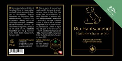 Bio Hanföl für Tiere 2.5%