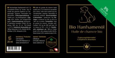 Bio Hanföl für Tiere 5%